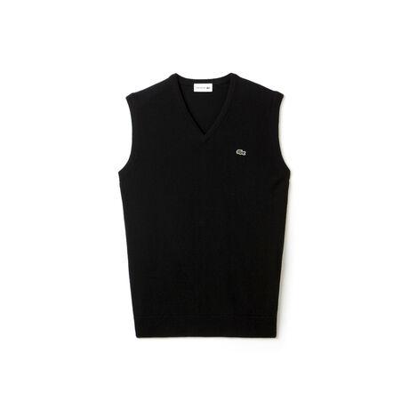 Men's V-neck Wool Jersey Vest