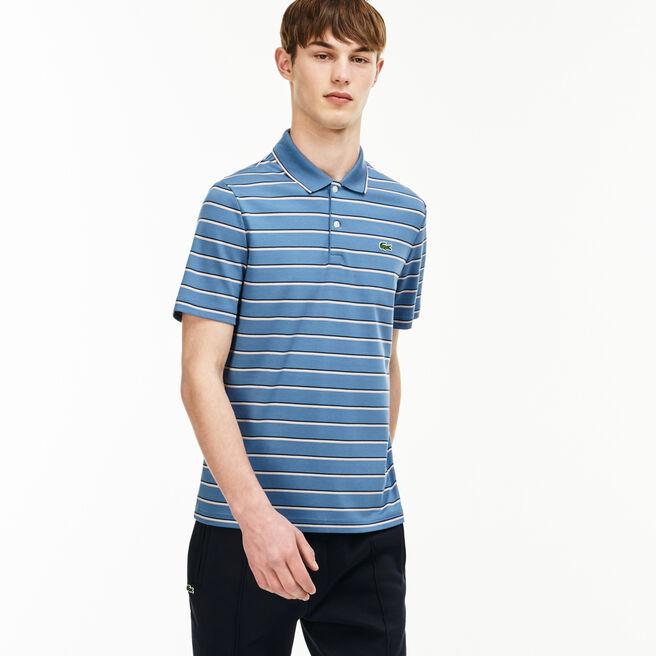 Men's Lacoste LIVE Slim Fit Colored Stripe Cotton Interlock Polo