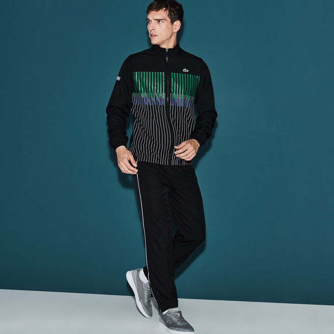 Men's Lacoste SPORT Tennis Striped Brand Design Tracksuit