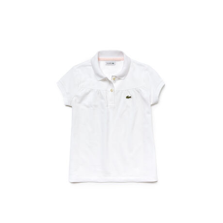 Kids Lacoste polo in gathered mini piqué