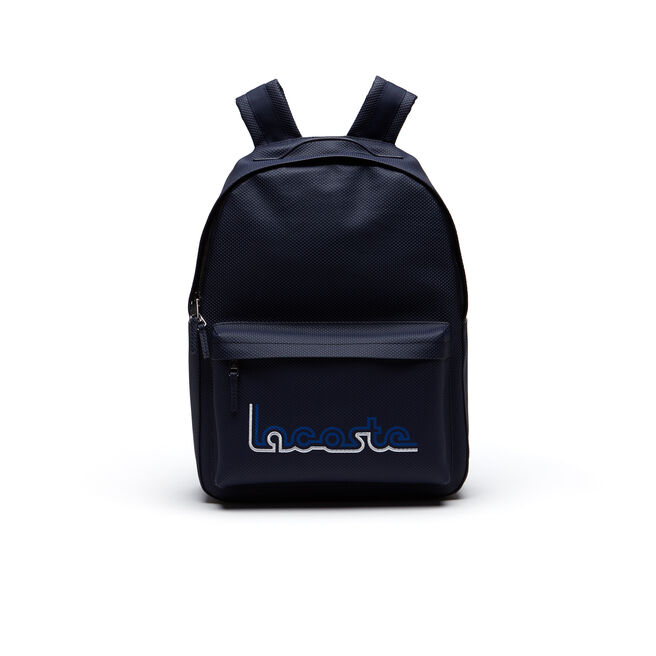 Men's Chantaco Coated Leather Backpack With Lacoste Embroidery