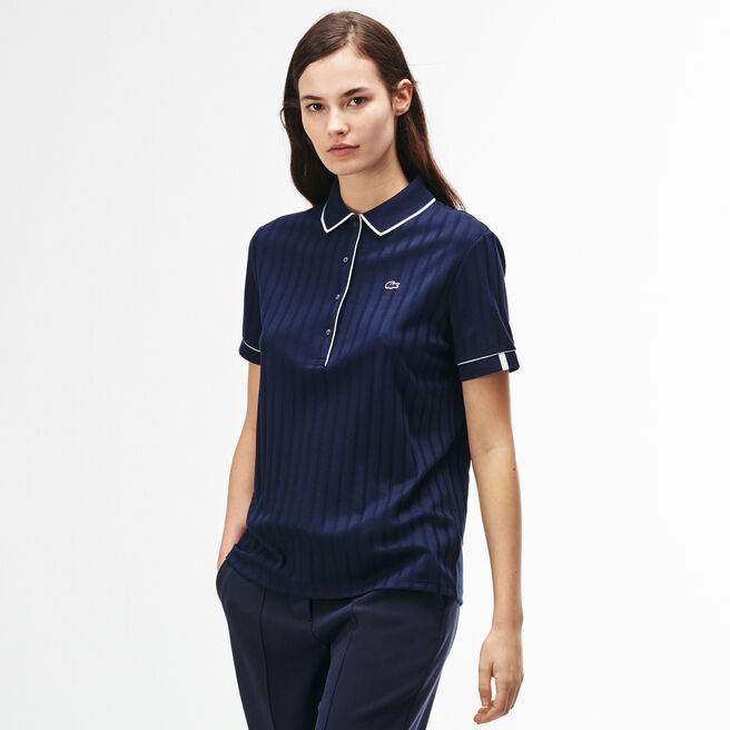 Women's Lacoste LIVE Piped Openwork Ribbed Cotton Polo