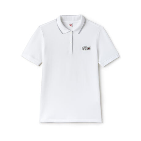 Women's Lacoste LIVE Slim Fit Piping And Lurex Crocodile Polo