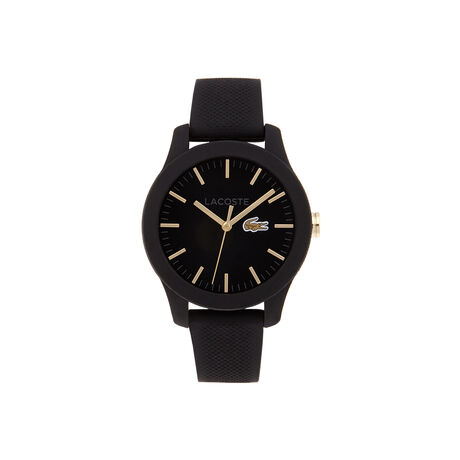 Lacoste.12.12 watch with black silicone strap and yellow gold details on the dial