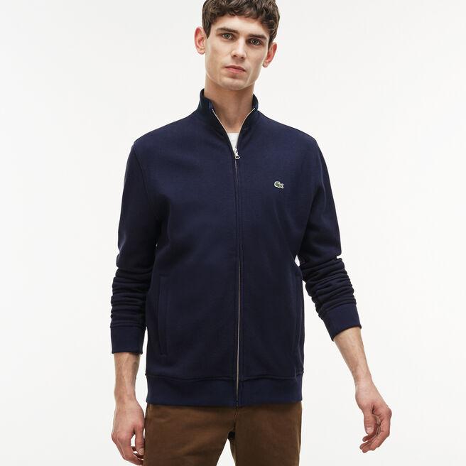Men's Zippered Stand-up Collar Fleece Sweatshirt