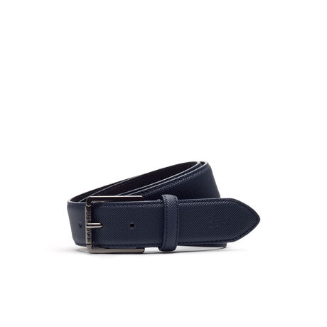 Men's classic belt in petit piqué embossed leather