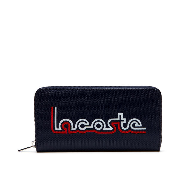 Women's Chantaco Leather Zip Wallet With Lacoste Embroidery